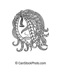 hand-drawn, vacker, flicka, med, abstrakt, hair.