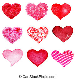 Hand drawn Valentine's day hearts set. Design elements - Collection of Abstract Red love heart shape symbols. Vintage Grunge hearts.