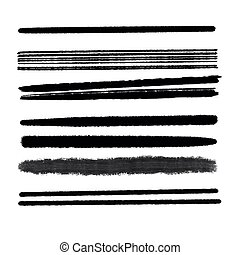Hand drawn various shapes brush strokes. Creative black thin paint brush lines, isolated on white background.