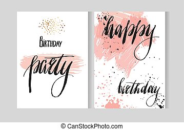Hand drawn vecor abstract artistic modern watercolor cards template with ink lettering phases Happy birthday and Happy birthday party in pastel colors isolated on white.Greeting and party invitations