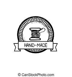 hand-drawn, vecteur, écusson, retro, fait main