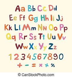 hand-drawn, vecteur, alphabet., art, enfants, vendange