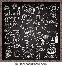 hand-drawn, vecteur, ensemble, nourriture.