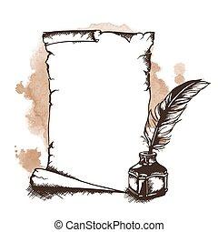 hand-drawn, vecteur, rouleau, penne