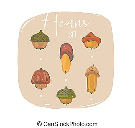 Hand drawn vector abstract cartoon Autumnal forest decoration elements set with oak acorns illustrations isolated on craft paper background.