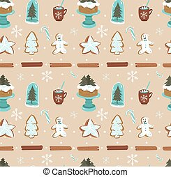 Hand drawn vector abstract cartoon Christmas seamless pattern with scandinavian home decorations elements glass bulb,holiday cake on stand and gingerbread cookies isolated on craft paper background