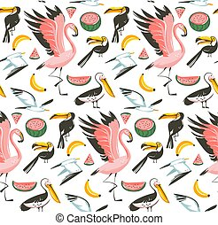 Hand drawn vector abstract cartoon graphic summer time beach illustrations seamless pattern with watermelon, gulls, flamingo and toucan birds, banana and watermelon fruits isolated on white background