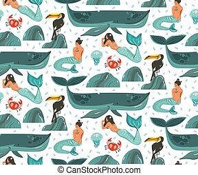 Hand drawn vector abstract cartoon graphic summer time underwater illustrations seamless pattern with coral reefs,jellyfish and beauty bohemian mermaid girls characters isolated on white background