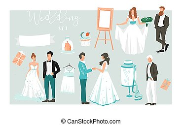Hand drawn vector abstract cartoon illustrations design elements big set of happy just married couples people,cakes and graphic icons for save the date cards isolated on white background