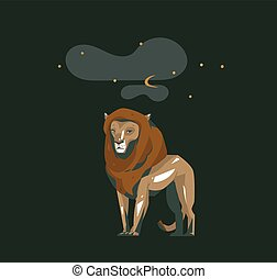 Hand drawn vector abstract cartoon modern graphic African Safari collage illustrations art card with safari animal lion isolated on black night background