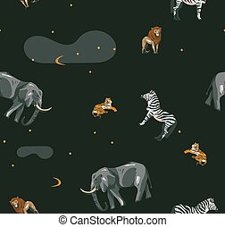 Hand drawn vector abstract cartoon modern graphic African Safari collage illustrations art seamless pattern with tigers, elephant, lion and zebra isolated on black background
