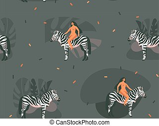 Hand drawn vector abstract cartoon modern graphic African Safari Nature concept collage illustrations art print with zebra animals and wild women character isolated on dark color background