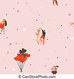 Hand drawn vector abstract cartoon modern graphic Happy Valentines day concept illustrations art seamless pattern with dancing couples people together isolated on pink pastel color background
