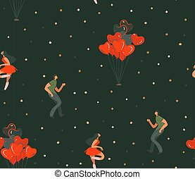 Hand drawn vector abstract cartoon modern graphic Happy Valentines day concept illustrations art seamless pattern with dancing couples people together isolated on black color background