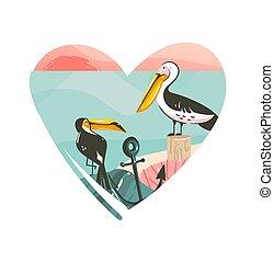 Hand drawn vector abstract cartoon summer time beach graphic...
