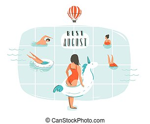 Hand drawn vector abstract cartoon summer time fun illustration with happy family in swimming pool and modern typography quote Best august isolated on white background