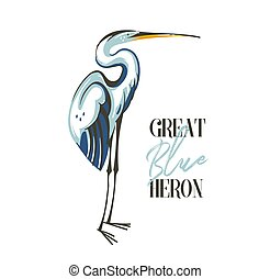 Hand drawn vector abstract cartoon summer time graphic decoration illustrations art with exotic tropical rainforest Great Blue Heron bird isolated on white background