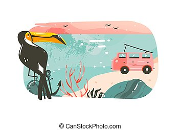 Hand drawn vector abstract cartoon summer time graphic illustrations art banner background with ocean beach landscape,pink sunset view,van camper car,toucan and copy space place isolated on white