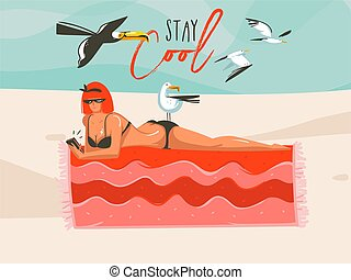Hand drawn vector abstract cartoon summer time graphic illustrations art template background with girl,relaxing on beach scene with Stay Cool typography quote