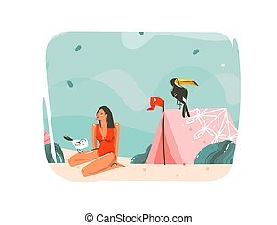 Hand drawn vector abstract cartoon summer time graphic illustrations art template background with ocean beach landscape, pink tent, toucan bird and beauty girl with copy space place for your text