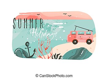 Hand drawn vector abstract cartoon summer time graphic illustrations art template banner background with ocean beach landscape,pink sunset view,van camper car and Summer Holidays typography quote