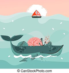 Hand drawn vector abstract cartoon summer time graphic illustrations art template print background with beauty whale in ocean waves,sail,sunset scene isolated on blue background