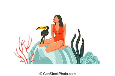 Hand drawn vector abstract cartoon summer time graphic illustrations art template sign background with girl, toucan bird on beach isolated on white background