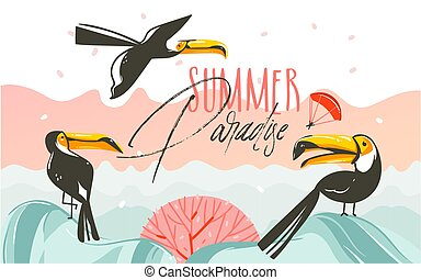 Hand drawn vector abstract cartoon summer time graphic illustrations art with beach sunset scene and tropical toucan birds with Summer Parsdise typography text isolated on white background