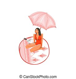 Hand drawn vector abstract cartoon summer time graphic illustrations art with gull bird and beauty girl under pink bohemian umbrella on beach mat isolated on white background