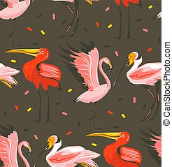 Hand drawn vector abstract cartoon summer time graphic illustrations artistic seamless pattern with exotic tropical birds flamingo,scarlet ibis,roseate spoonbill isolated on black background