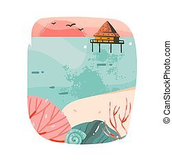 Hand drawn vector abstract cartoon summer time graphic...