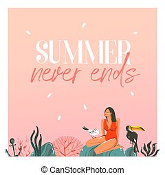 Hand drawn vector abstract cartoon summer time graphic illustrations template cards with girl, sunset, toucan birds on beach scene and modern typography Summer never ends isolated on white background
