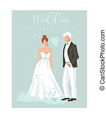 Hand drawn vector abstract cartoon wedding couple illustrations collection element set isolated on blue background.