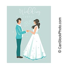 Hand drawn vector abstract cartoon wedding couple illustrations collection element set isolated on blue background