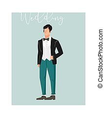 Hand drawn vector abstract cartoon wedding groom illustration element isolated on blue background
