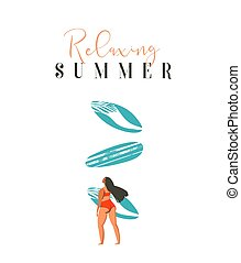 Hand drawn vector abstract cute summer time beach surfer girl illustration with red bikiny,surfboard and modern calligraphy quote Relaxing Summer isolated on white background