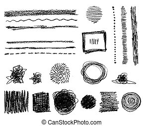 Hand drawn vector abstract elements. Line, dots, doodles and sta