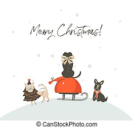 Hand drawn vector abstract fun cartoon Merry Christmas time illustration greeting card with mammal dogs outdoor on sleigh and modern typography Merry Christmas isolated on white background