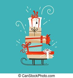 Hand drawn vector abstract fun Merry Christmas and Happy New Year time cartoon illustration greeting card with xmas surprise gift boxes isolated on blue background