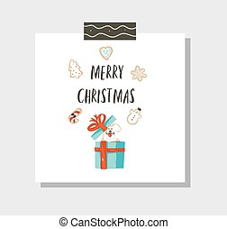 Hand drawn vector abstract fun Merry Christmas time cartoon card template with cute illustrations, surprise gift boxes, gingerbread cookies, dog and modern calligraphy isolated on white background