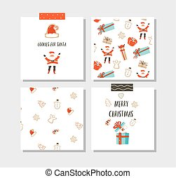 Hand drawn vector abstract fun Merry Christmas time cartoon cards collection set with cute illustrations, surprise gift boxes, Santa Claus, dog and modern calligraphy isolated on white background