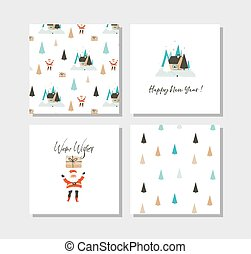 Hand drawn vector abstract fun Merry Christmas time cartoon cards collection set with cute illustrations, surprise gift boxes, Santa Claus and modern calligraphy isolated on white background