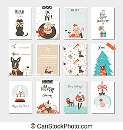 Hand drawn vector abstract fun Merry Christmas time cartoon cards collection set with cute illustrations, surprise gift boxes ,Xmas mammal dogs and modern calligraphy isolated on white background