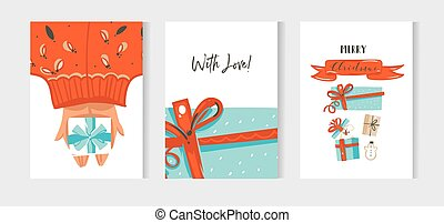 Hand drawn vector abstract fun Merry Christmas time cartoon cards collection set with cute illustration of dog in surprise gift box and red ribbon with modern calligraphy isolated on white background