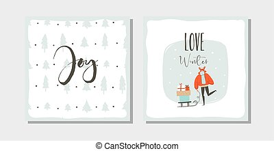 Hand drawn vector abstract fun Merry Christmas time cartoon cards collection set with cute illustrations, surprise gift boxes ,Christmas trees and modern calligraphy isolated on white background