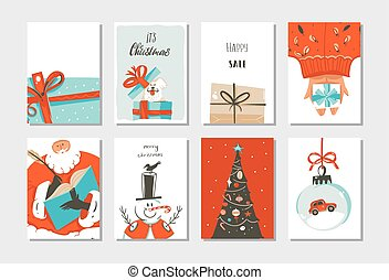Hand drawn vector abstract fun Merry Christmas time cartoon cards collection set with cute illustrations, surprise gift boxes ,Xmas tree and modern calligraphy isolated on white background