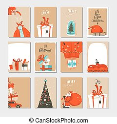 Hand drawn vector abstract fun Merry Christmas time cartoon cards collection set with cute illustrations, surprise gift boxes ,Christmas tree and modern calligraphy isolated on craft paper background