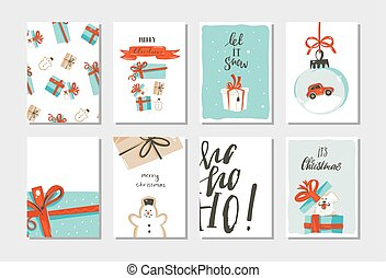 Hand drawn vector abstract fun Merry Christmas time cartoon cards collection set with cute illustrations, surprise gift boxes, dogs and handwritten modern calligraphy text isolated on white background