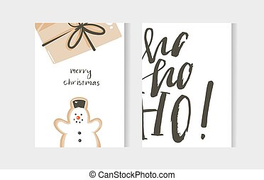 Hand drawn vector abstract fun Merry Christmas time cartoon cards collection set with cute illustrations, surprise gift box, snowman and handwritten modern calligraphy text isolated on white background