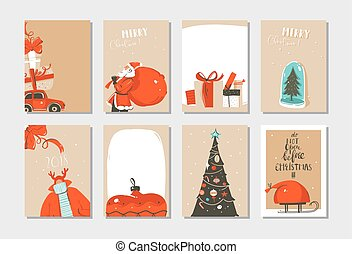 Hand drawn vector abstract fun Merry Christmas time cartoon cards collection set with cute illustrations, surprise gift boxes ,Christmas tree and modern calligraphy isolated on white background